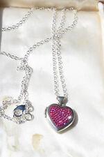 Vintage 925 St Silver Sparkling Pink Rhinestone Heartshaped Photo Locket Pendant