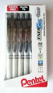 Pentel EnerGel Pearl Pens, 0.7mm, Needle Point, Black Ink, Pack of 12 - NEW