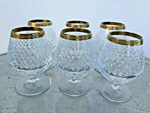 Vintage Liquor Brandy Glasses Gold Trim Cutted Glass 6 pcs