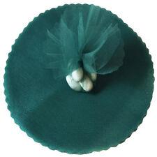 """50 Scalloped Tulle Circles 9"""" Wedding Favor Wrap - Hunter Green"""