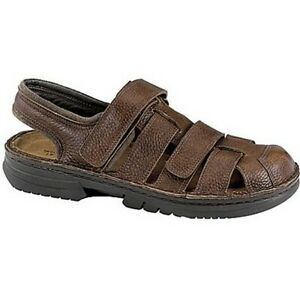 Naot Mens Kevin Textured Dark Brown Leather Fisherman Sandals Size 47 US 14