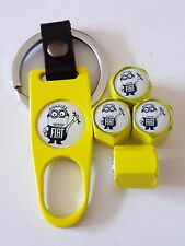 MINIONS FIAT YELLLOW DUST VALVE CAPS & YELLOW SPANNER/KEYCHAIN BOXED ALL MODELS