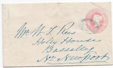 # 1852 1d PINK ENV =563= BLUE NUMERAL TREDEGAR TO BASSALEG NEWPORT MONMOUTHSHIRE