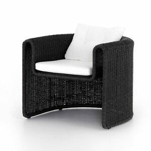 """32"""" H Maria Black Woven Wicker Outdoor Chair One Piece Curved Fluid Open Rustic"""