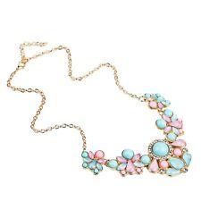 "4-1/2"" x 3"" PINK & BLUE Stone Pendant 14"" Bijoux Necklace 3-piece Rhinestone"