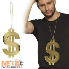 GLITTER ORO dollaro 70/'s Gangster Protettore COLLANA FANCY DRESS Big Daddy NUOVO