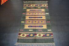 22102 Moderne handgewebter Teppich Kelim Kilim zeitloses Design ca 155 x 90 NEU