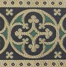 """3 yards, Christian Vestment Trim. Gold & Green 3½"""" Wide Antique Reproduction DIY"""