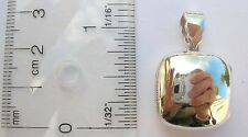 Thailand handmade stamped 925 sterling silver plain locket pendant square #pwh23