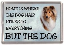 """Rough Collie Dog Sable Fridge Magnet """"Home is Where"""" Design No 3 by Starprint"""
