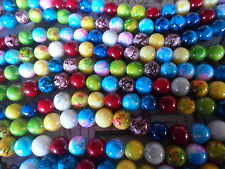 40 x 10mm Spray Painted Mixed Colour Glass Beads, Round  hole 1mm