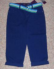 GLORIA VANDERBILT Violet Blue Classic Fit Denim Capris Jeans Cuffs Belt Size 14