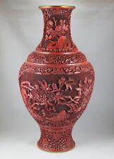 Grand vase Chinois à l'imitation de la laque rouge