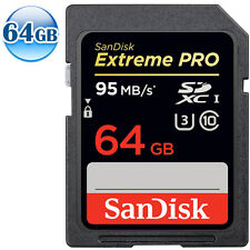 SANDISK EXTREME U3 PRO SDXC UHS-I CLASS 10 64GB 64G SDHC SD Memory Card 95MB/s*