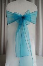 50x Teal Organza Sheer Chair Sashes Wedding Ceremony Banquet Party Decorations