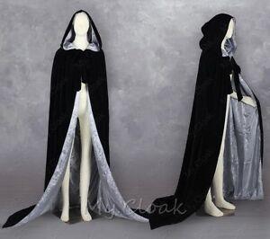 MEDIEVAL Velvet Hooded Capes Black Halloween Cloaks Wedding Shawl Sca Size S-6XL