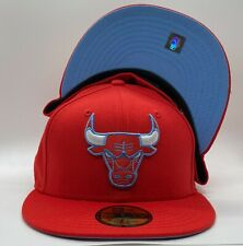 Chicago Bulls Custom New Era 59Fifty Red Wool Icy Blue Under Visor