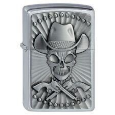 Western  ZIPPO Cowboy Skull  PLATTE CHROM  NEU  Ausverkauf