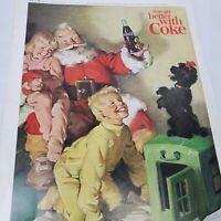 "Vintage Coke Coca Cola Christmas Print Ad Santa Dog Kids Poodle 1964 10"" x 7"""
