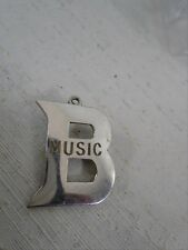 """Vintage Sterling Silver """"B"""" Music Pendant or Brooch Pin Named Mrs W. Cooper"""