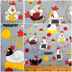 TIMELESS TREASURES 100% COTTON QUILTING CRAFT FABRIC CUTE CHICKENS HENS KNITTING