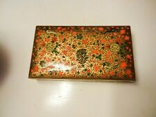 India Laquered Wood Hand Painted FLOWERS & BIRDS Trinket Box  Kashmir Gold