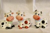 Cow Salt & Pepper Shakers Toothpick Holder Figurines Very Good Condition