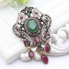 Women Turkish Brooch Islamic Pin Hijab Green Vintage Arabic Broch Hairpin Retro