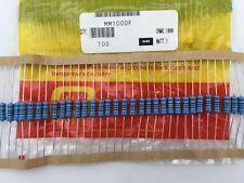 (100 pcs) MM1000F Ohmite, 1 Watt  100 Ohm  1%, Metal Film Resistor (Axial)