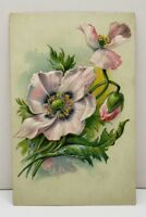 Pretty Pale Pink Flowers Embossed Postcard B19