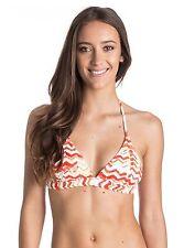 NEW Women's Roxy Sun Sand Salt Triangle Tri White Orange Bikini Top Size Small S