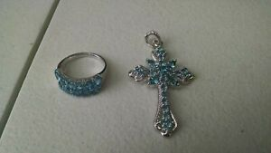 COLLECTION LOT OF STERLING SILVER RING AND PENDANT WITH  TOPAZ STONES QTY 2