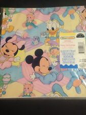 "1990'sVtg Disney BabiesGift WrapPaper Micky Minnie Daffy Donald 2Sheets 20""x2.5'"