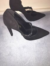Primadonna Collection Black Faux Suede Strap Shoes High Heels size 5 NWOB