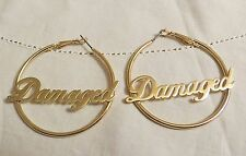 "SUICIDE SQUAD HARLEY QUINN ""DAMAGED"" HOOP EARRINGS MAD LOVE LICENSED PRODUCT"