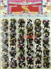 1 Sheet 48pcs Black Butler Badge,Kid Gifts,Cartoon Round Brooch Button Pin-45MM