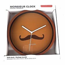 Novelty Handlebar Mustache 8-inch Wall Clock Battery Powered Father's Day Gift