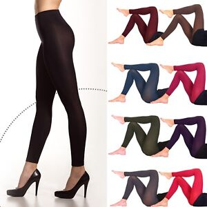 Women's Opaque Soft Microfiber FOOTLESS Tights 60 Denier Full Length Size S-XL