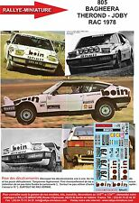 DECALS 1/24 REF 805 MATRA SIMCA BAGHEERA THEROND RAC RALLY 1978 RALLYE