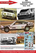 DECALS 1/18 REF 805 MATRA SIMCA BAGHEERA THEROND RAC RALLY 1978 RALLYE