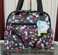 Lily Bloom Sushi Cat Collection Travel Tote Weekender Bag Black Multi NWT