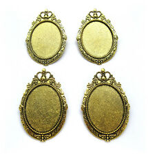4 Antiqued Goldtone ROYAL Style 40mm x 30mm CAMEO Pin Brooch Pendant Frames
