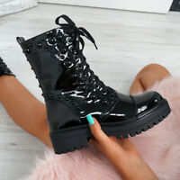 WOMENS LADIES BIKER BOOTS HIGH TOP LACE UP CHUNKY HEEL ANKLE BOOTS PATENT SHOES