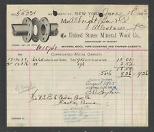 1903 UNITED STATES MINERAL WOOL CO NEW YORK NY ANTIQUE BILLHEAD