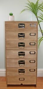 Chest of 7 Drawers Tall Wooden Storage Unit Organiser Cupboard Metal Handles