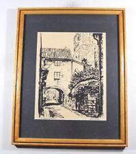 1940s Signed Wolfgang Friden St Hanegatan St Lars Ruin Framed Ink Painting Art