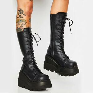 Mid Calf Boots Ladies Gothic Punk Lace Up Chunky High Heel Platform Shoes