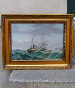 Antique Master Oil. Paddle steamer towing a Danish frigate. Ca 1860. Signed.