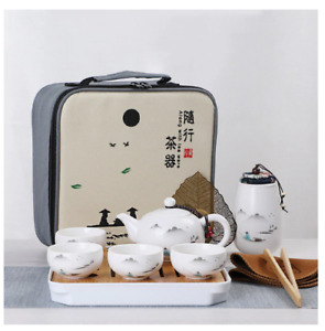 Ceramic Kung Fu Travel Tea Set Teapot Canister 4 Cups Tray Clip Towel Bag Gift