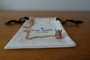 KATE SPADE IMAGINATION PAVE PIG MINI PENDANT NECKLACE AND EARRING SET. NEW
